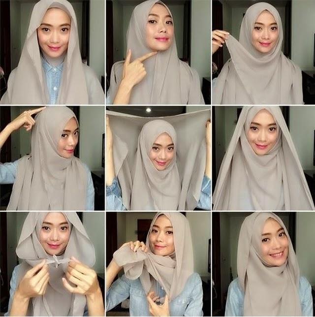 Tutorial Hijab Modern Segi Empat