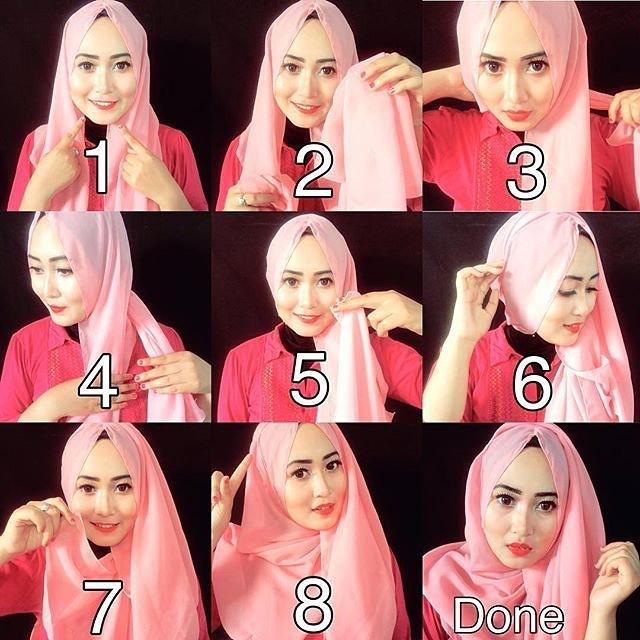 Cara Memakai Hijab Pashmina Simple