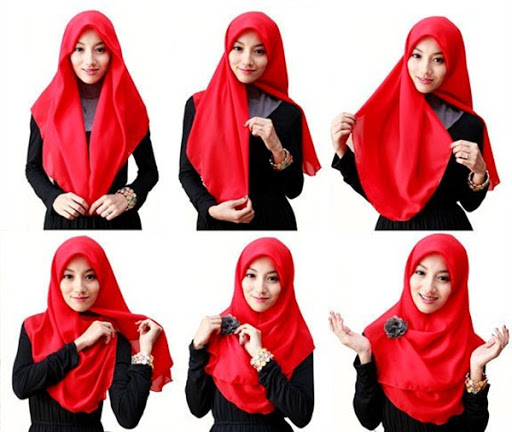 hijab tutorial segi empat simple
