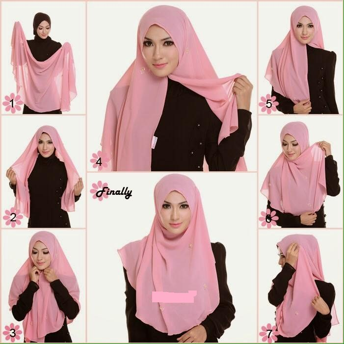 tutorial hijab pashmina sifon simple