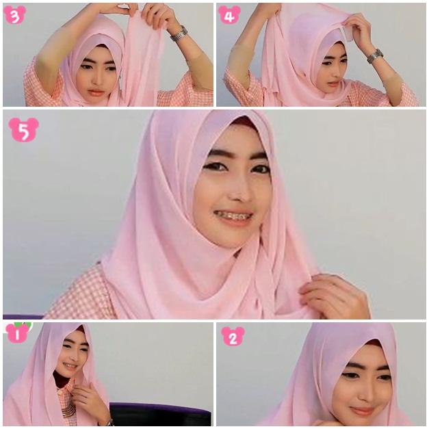 Tutorial Hijab Pashmina Sifon Simple untuk Wajah Bulat